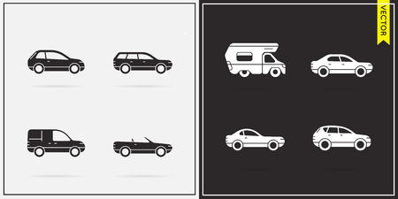 Big Set of Vector Car Icons in Black and White Illustration