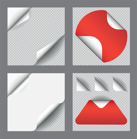 Set of Vector Sticker with Paper Curl with Shadow Isolated with Transparency. Ilustração