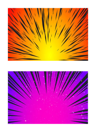 Set of Sun Rays or Explosion Boom for Comic Books Radial Background Vector Illustration