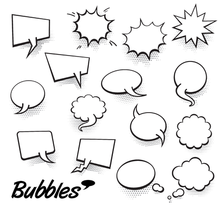 Set of blank template in Pop Art style. Vector Comic Text Speech Bubble Halftone Dot Background. Empty Cloud of Comics book dialog Space for Cartoon Box pop-art. Иллюстрация