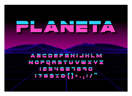 80s Retro Futurism style Font. Vector Brush Stroke Alphabet. Retro Futurism Old VHS Style. Futuristic Gaming or Music