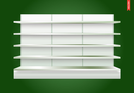 Empty Vector Store Shelves with Background. Can be used separately.