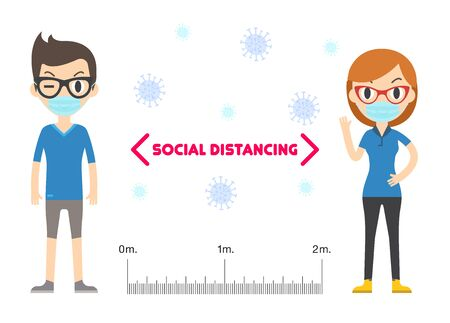 Social distancing, keep distance in public people society to protect from COVID-19. Coronavirus Outbreak.