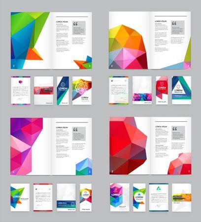 Gran conjunto de identidad visual con elementos de letras estilo poligonal Membrete y maquetas de plantilla de portada de folleto de estilo de diseño triangular geométrico para negocios con nombres ficticios