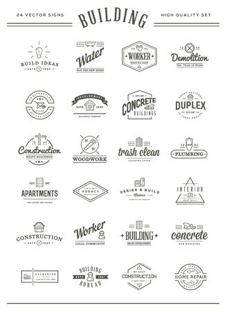 Set of Vector Construction Building Icons Home and