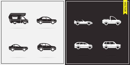 Big Set of Vector Car Icons in Black and White 向量圖像