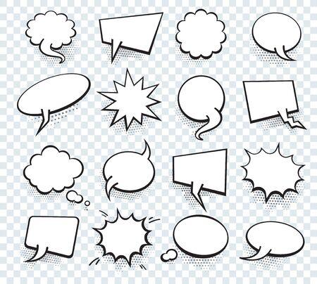 Conjunto de plantilla en blanco en estilo Pop Art. Vector de fondo de punto de semitono de burbujas de discurso de texto cómico. Espacio vacío de diálogo del libro Cloud of Comics para el arte pop Cartoon Box. Logos