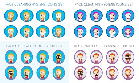 Vector Face Cleaning And Care Actions Illustration Big Set Illustration