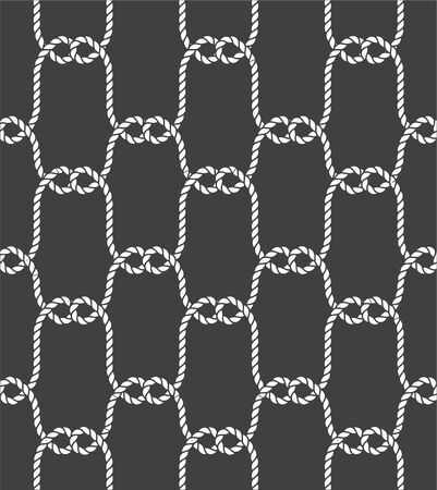Tied Fishnet. Rope Seamless Pattern. Vector Wallpaper.