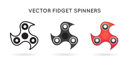 Set of 3 Hand Fidget Spinners. Isolated.