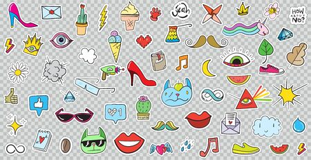 Big Set of Patches Elements like Flower, Heart, Crown, Cloud, Lips, Mail, Diamond, Eyes. Hand Drawn Vector. Cute Fashionable Stickers Collection. Doodle Pop art Sketch Badges and Pins.