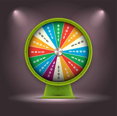 Vector Green 3D Spinning Fortune Wheel, Realistic Style Lucky Roulette Illustration Ilustração