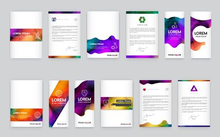Big Set of Visual identity with letter elements polygonal style Letterhead and mesh smooth design style brochure cover template mockups for business with Fictitious names Vecteurs