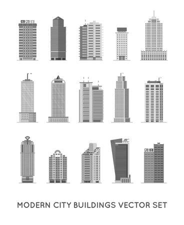 Bâtiments et maisons modernes de la ville. Ensemble d'icônes vectorielles à plat.