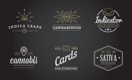 Set of Medical Cannabis Marijuana Sign or Label Template in Vector. Can be used as a Logotype. Logo
