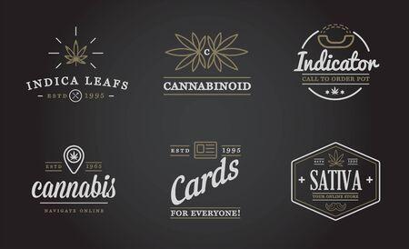 Ensemble de signe de cannabis médical ou de modèle d'étiquette dans le vecteur. Peut être utilisé comme logotype. Logo