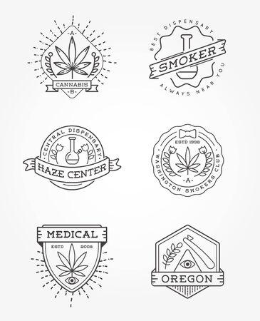 Ensemble de signe de cannabis médical ou de modèle d'étiquette dans le vecteur. Peut être utilisé comme logotype.