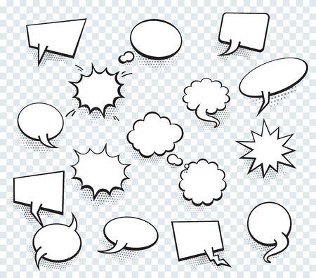Set of blank template in Pop Art style. Vector Comic Text Speech Bubble Halftone Dot Background. Empty Cloud of Comics book dialog Space for Cartoon Box pop-art. Vetores