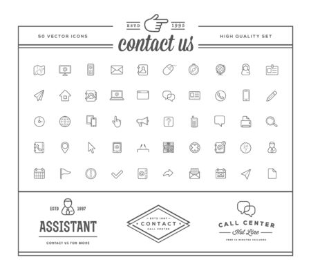 Set of Contact us Service Elements and Assistance Support can be used as Logo or Icon in premium quality with Logotype Samples Reklamní fotografie - 149246114