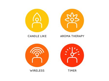 Set of Electric Candle icons in vector different functions