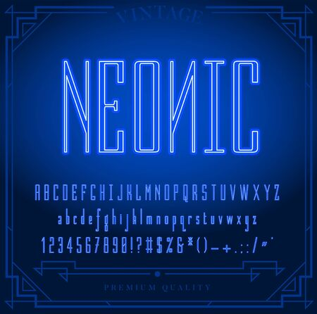 Bright Neon Alphabet Letters, Numbers and Symbols Sign in Vector. Night Show. Night Club. 矢量图片