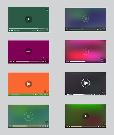 Big Set of Video Player Window with Menu and Buttons Panel in Vector. User Interface Collection.