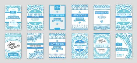 Set of Vector Happy New Year or Merry Christmas theme Save the Date Invitation to the Party Vectores