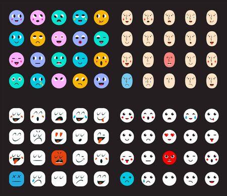 Big Set of Emoticons or Emoji for Devices. Vektorové ilustrace