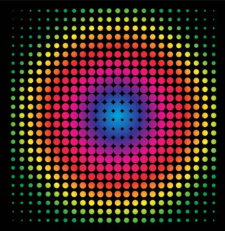 Colorful Rainbow Circle in Halftone, Halftone Dot PatternIllustration.