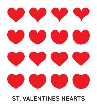Hearts Icons Set. St. Valentines Day, February. Can be used for medicine or fitness.