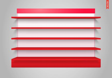 Blank Colorful Empty Showcase Display Shelves. Front View 3D. Illustration. Mock Up Template Ready. Vector EPS 10.