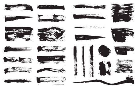 Big Set of Vector Black Pen Ink Brush Strokes. Grunge Ink Brush Stroke. Dirty Brush Stroke.