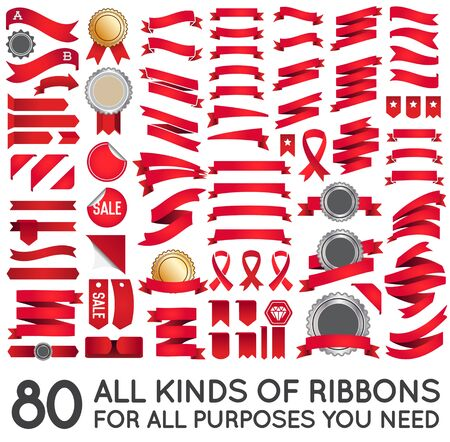 Big Set of Ribbons and Labels in Retro and Vintage for All Purposes Векторная Иллюстрация