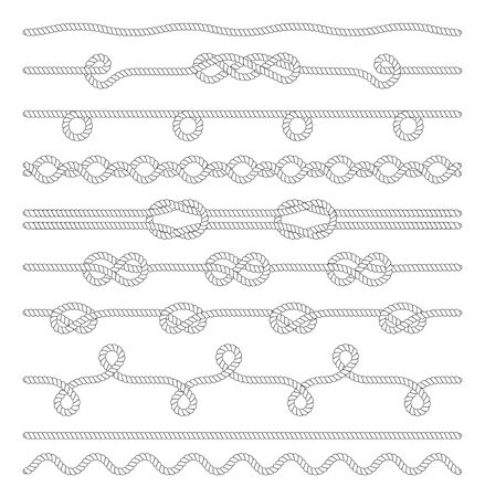 Set of Twisted rope isolated on white