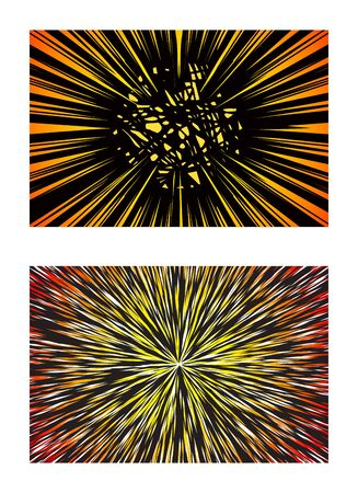 Set of Sun Rays or Explosion Boom for Comic Books Radial Background Illustration