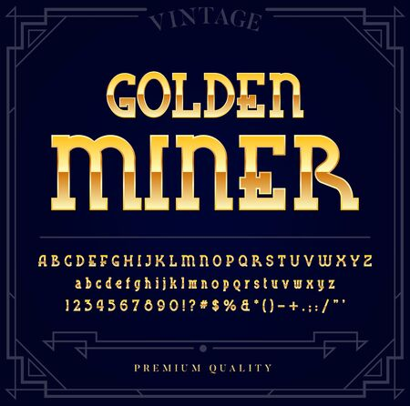 Gold Metallic Font Set. Letters, Numbers and Special Characters in Vector Illustration