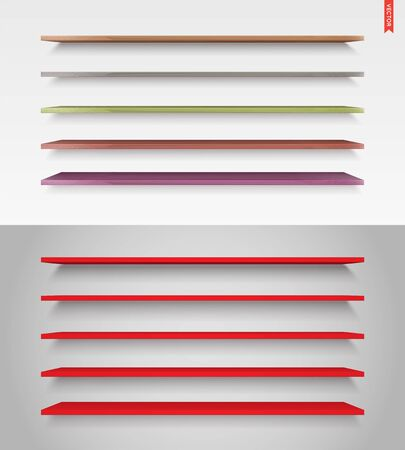 Set of Glass, Wood, Plastic, Metal Long Shelves in Vector Isolated on the Wall Background