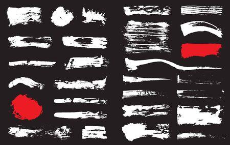 Big Set of Black Pen Ink Brush Strokes. Grunge Ink Brush Stroke. Dirty Brush Stroke.