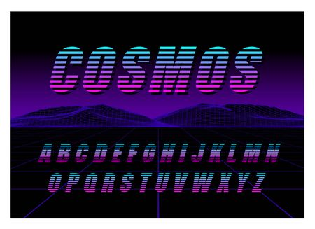 80's Retro Futurism style Font. Vector Brush Stroke Alphabet. Retro Futurism Old VHS Style. Futuristic Gaming or Music Stock Vector - 150306035