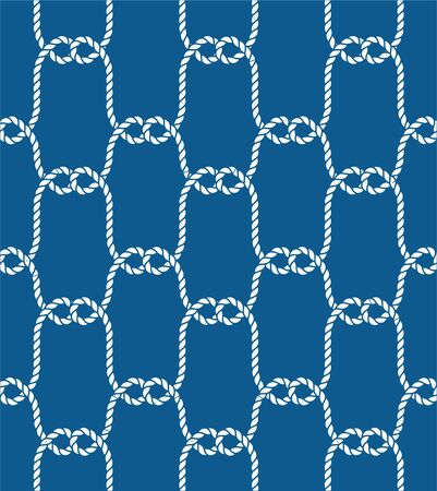 Trendy maritime style background. For fabric, wallpaper, wrapping. Seamless Nautical Rope Pattern. Endless Navy illustration with white Loop ornament.
