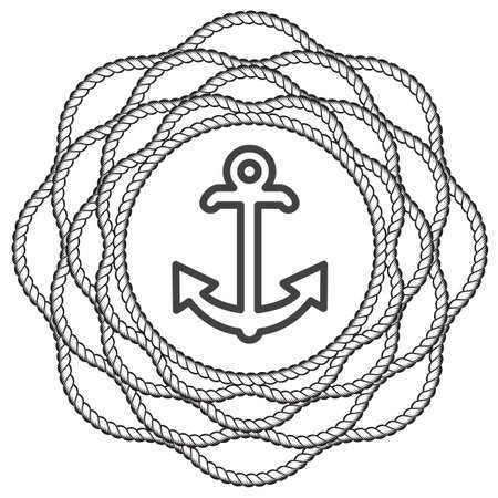 Nautical Anchor with Rope Mandala Flower. Vector illustration isolated Illusztráció