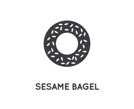 Bagel with Sesame Vector Element or Icon, Illustration Ready for Print or Plotter Cut. High Quality - Glyph Vector