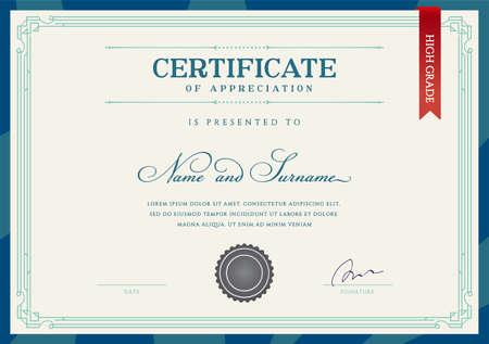 Template Diploma Currency Border. Certificate Award Gift Voucher. Vector illustration. Vector Illustratie