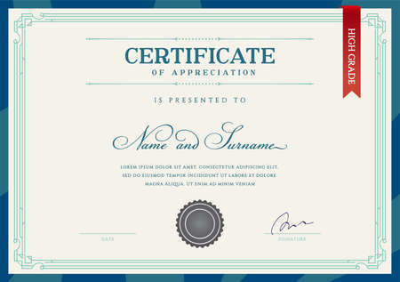 Template Diploma Currency Border. Certificate Award Gift Voucher. Vector illustration. Vektoros illusztráció