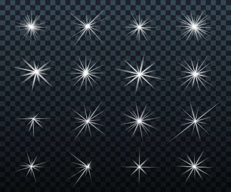 Set of Glowing light effects. Sparkles. Shining stars, bright flashes of lights with a radiating. Transparent light effects in vector. 向量圖像