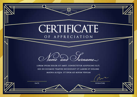 Template Diploma Currency Border. Certificate Award Gift Voucher. Vector illustration. Vektorgrafik