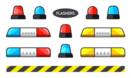 Set of Special Flashers of Emergency Dept Department Police Fire Ambulance Accident Tow Snow Removal Illustration