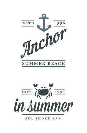 Summer Holidays Vector Design elements set. Retro and vintage templates. Labels