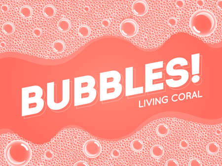 Coral Color Shampoo Soap Bubbles in Bath or Sud. Vector. Transparent Foam on Blue water background.