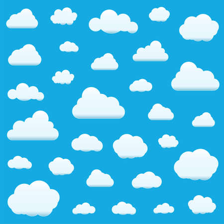 Set of Clouds Isolated on Sky Background. Seamless Pattern. Collection of clouds for Web, Poster, Placard, Wallpaper. Creative Modern Concept. Vector illustration. Ilustração